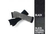 Striped Glovelet - Black/Natural  - Possum Down