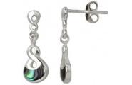 Sterling Silver Paua Twist Earrings