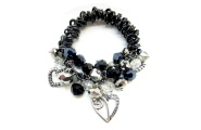 Gun-metal Koru Heart Cluster Bracelet By Hint of New Zealand