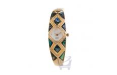 Gift Boxed Gold Diamond Bracelet Watch with Paua Insert